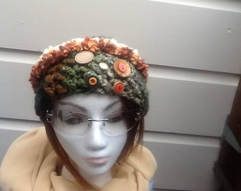 Crocheted green and brown cloche