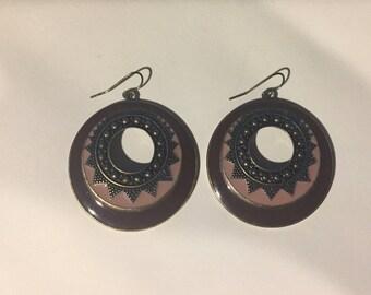 Gorgeous-Bronze Metal-Dangling-Pierced earrings- Beautiful design- FREE shipping!