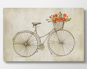 Bicycle Canvas, Bicycle Wall Art, Spring Decor, Spring Wall Art, Bicycle  Nursery