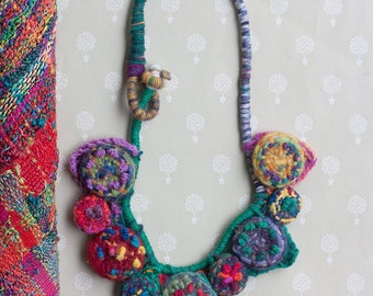 Unique colorful necklace, statement fiber jewelry, knitted with handwoven and embroidered bamboo beads, both sides wearable, OOAK