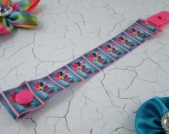 Dummy Clip / Pacifier Strap - Minnie Purple/Blue/Pink