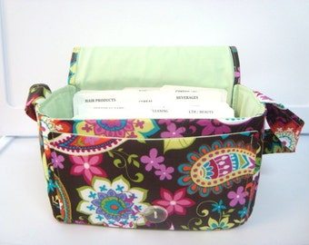 Super Size Fabric Coupon Organizer Box Holder -Attaches to your Shopping Cart - Coco Spree Paisley Lime Green Lining