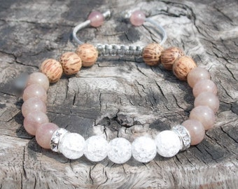 Strawberry Quartz Wrist Mala with Palmwood and Ice Crystal Quartz