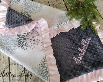 Personalized Pink and Gray Boho Girl Baby blanket, Floral Girl Baby Shower Gift, New Baby Gift