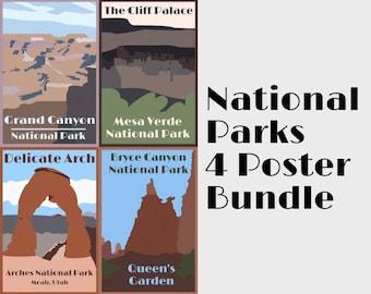 Bundle of 4 National Parks Retro Vintage Travel Posters (Digital Download)