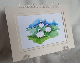 Sheep Original Watercolour, Whimsical, cute and fun
