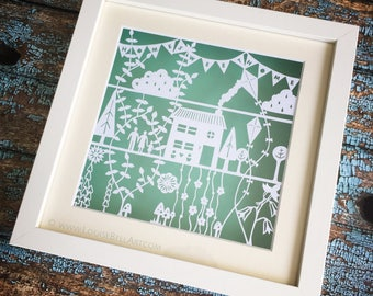 Home Sweet Home Framed Papercut.  Handmade - Handcut - Personalised