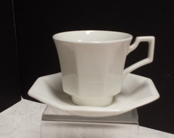 White English Ironstone Cup and Saucer; Johnson Bros; Made in England