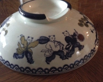 Vintage Japanese Porcelain Transferware Donabe Nabe Cover Lid or Rice Warmer Lid ~Boys at Play Catching Butterflies Blue & White