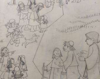 Pencil Bible Folks, a biblical illustration by D. Messenger,  a print. 8.5 x 11 or 11 x 17 acid free paper, in tube, free ship in USA.