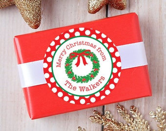 Christmas Stickers - Personalized Gift Labels - Christmas Wreath - Sheet of 12 or 24
