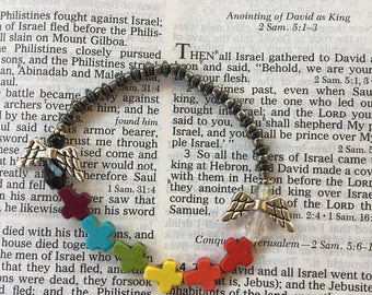 Rainbow crosses and angels stretch bracelet! SHIPS IMMEDIATELY from USA! Gifts for her, gifts for him, gifts for them!