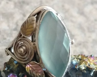 Faceted Aqua Chalcedony  Ring, Size 7
