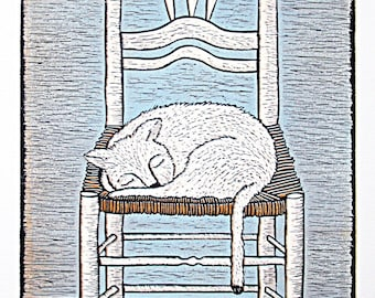 linocut, cat art, catlovers print, cat print, interior art, blue and white art, printmaking, limited edition print, chair with cat print