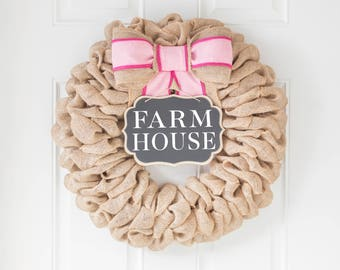 Modern Farmhouse Wreath, Easter Decorations for Spring, Summer Wreaths for Front Door, Mothers Day Gift Ideas