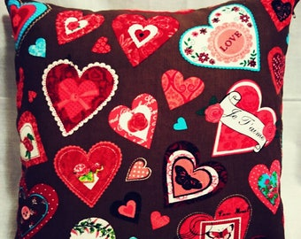 Heart printed handmade cotton cushion - Buy 1 and we send you 2