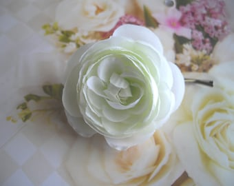 White Hydrangea Hair Clip Or Ranunculus Realistic White Flower Choose Bobby Pin Hair Clip Brooch For Wedding Occasional by handcraftusa