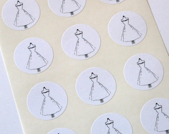 White Dress Stickers One Inch Round Seals