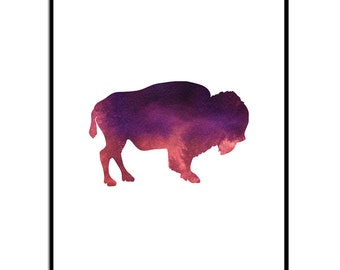 buffalo print | Bison Print  | Navajo nursery | Buffalo Wall Art | Instant Download | Watercolor Print | Bison Wall Art | Tribal Wall Art |