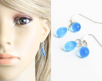 sky blue earrings cluster jewelry sterling silver earrings summer jewelry simple earrings best friend gifts daughter short drop earrings W12