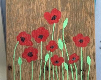 Red poppies wall art, Reclaimed Cedar Wall Art