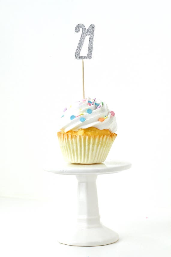 Number 21 Silver Glitter Cupcake Toppers, Number 21 Toothpicks Silver Party Decor Food Decoration Twenty-First,  21st Birthday, Twenty One