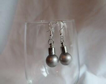 Silver Bulb Earrings on Silver Ear Wires, Earrings, Bulb, Round
