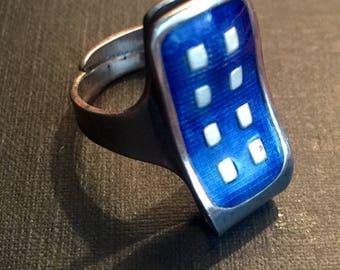Blue guilloche 'Domino' ring by Grete Prytz Kittelsen for Tostrup of Norway