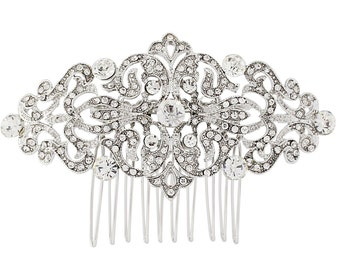 Silver crystal Hair Comb, Gold bridal hair comb, bridal crystal comb, deco hair comb, vintage hair comb, vintage style comb, deco comb,