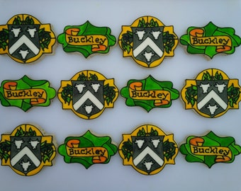 Stained Glass Coat of Arms / Family Crest Cookies - One Dozen Personalized Decorated Family Reunion / Wedding Cookies