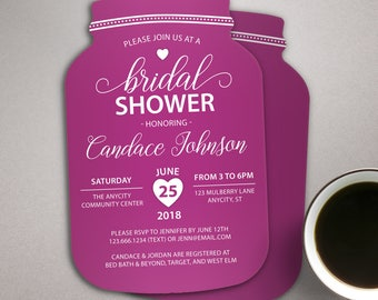 Bridal Shower Invitations, Mason Jar Bridal Invites, Raspberry Invitations, Violet Wedding Invitations, Printed Invitations, Purple Invites