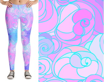 Purple Pastel Goth Leggings, Pastel Goth Clothing, Fairy Kei Tights, Harajuku Kawaii Leggings, Soft Grunge 90s Leggings, Lavender Leggings