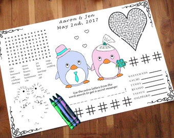 Kids Penguin Wedding Activity PDF.  Your Names & Date. Custom Placemat. Coloring, Maze, Dot to Dot.