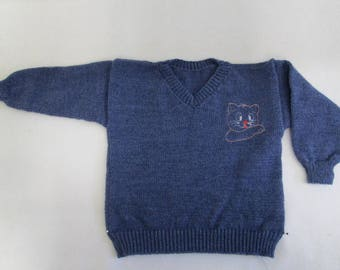 Knitted jeans blue sweater with embroidered application