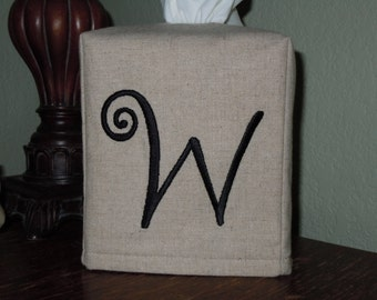 "Monogrammed Linen Tissue Box Cover -  Frivolous ""W"" Monogram   Made To Order"