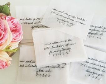 Vellum Envelope Calligraphy Addressing- Vellum Envelopes, Wedding Envelopes, Party Envelopes, Calligraphy Addresses