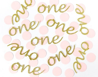PINK and GOLD ONE Confetti. First Birthday Party Decorations. 1st Birthday Girl. Boy. Pack of 50. Gold Glitter Confetti. Cake Smash.Age 1