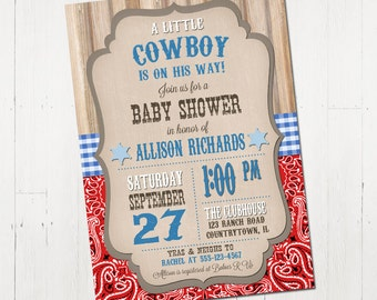 Cowboy Baby Shower Invitation - Printable Cowboy Baby Shower Invitation - Western Baby Shower Invite - Printable Baby Shower Invitation