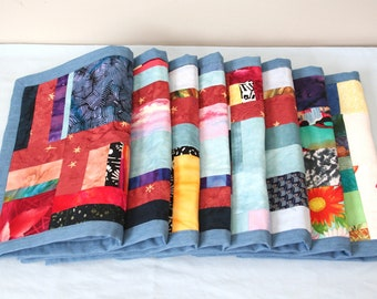Handmade Fabric Placemats, Set of 8, Colorful Patchwork Fabric Design, Table Mats
