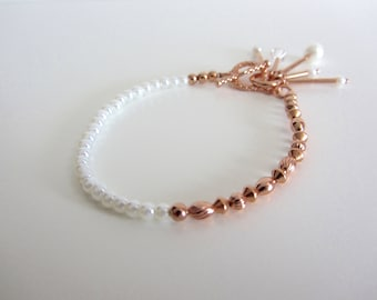 Glass Pearl and Copper Bracelet