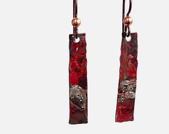 Rustic Flame Coloured Mixed Metal Earrings, Steampunk Jewelry, Copper and Silver,