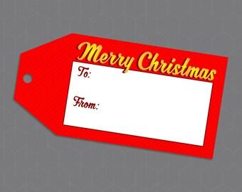 """Printable Christmas Gift Tags - """"Merry Christmas"""" 3.5"""""""