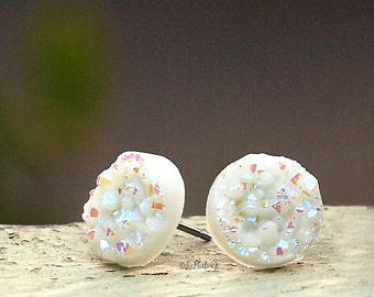 Faux Druzy Stud Earrings - Ivory Glitter Faux Drusy Posts