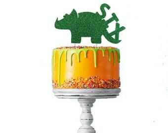 Dinosaur 6th Birthday Cake Topper - Number Six Dinosaur Cake Topper - Glittery Green Cake Topper - Boys Cake Topper