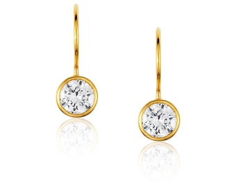 Earrings, Drop earrings, Solitaire drops in Rose Gold, Cubic Zirconia solitaire, Bridesmaid Gift, Best women gift, Dainty earrings,