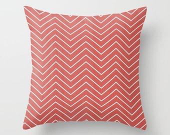 Chevron Pillow cover Coral Pillow Cover Decorative Pillow Cover Striped Pillows Size Choice