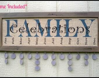 Family Birthday Board, Family Celebration Board, Family Birthday Sign, Family Celebrations Sign, Burlap Print, Burlap Sign, Framed Sign