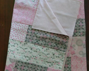 Handmade Pink and Grey Lightweight Pieced Baby Blanket