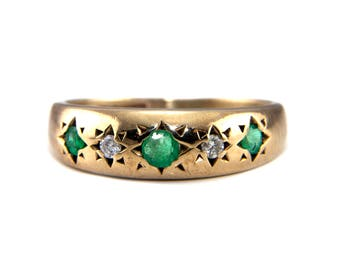Vintage emerald ring, gold emerald ring, emerald gypsy ring, vintage gypsy ring, gold gypsy ring, emerald diamond ring, rings for her