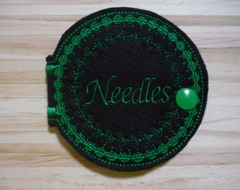 Sewing Needle Case,sewing gift,quilter,needle case,machine embroidery,pin holder,wool felt,needle and thread